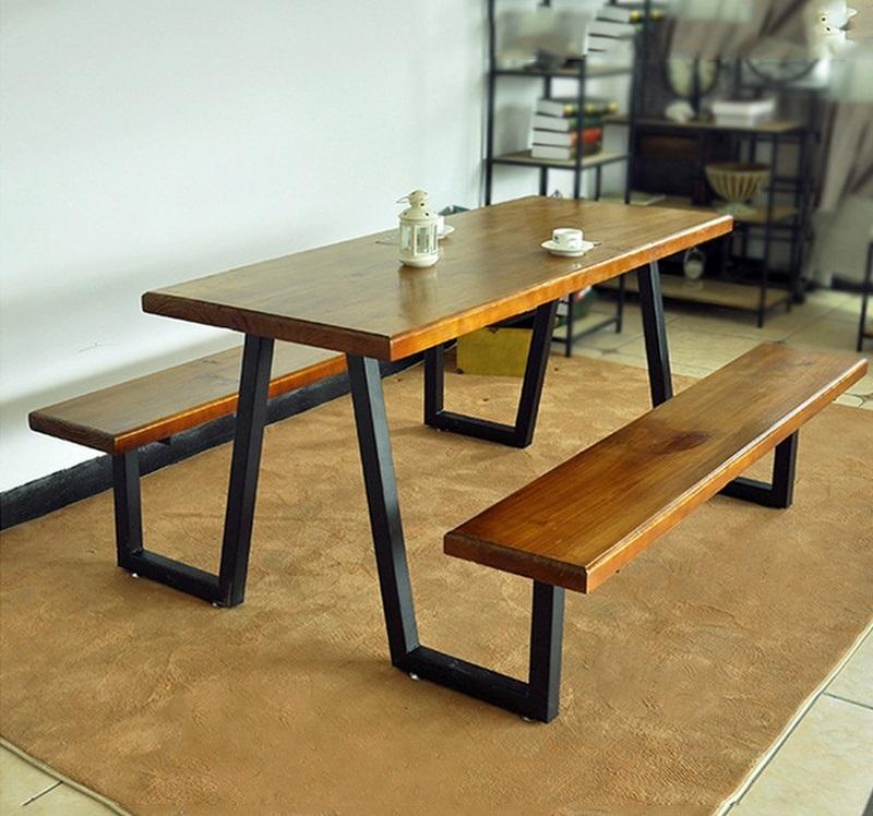 Bộ bàn ăn mặt gỗ chân sắt 02